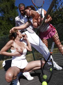 Welcome to the fantastic threesome party these lovely babes are having with the strong guy. They are being fucked after playing tennis outdoor.