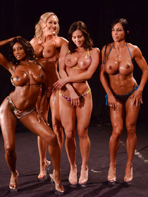 Powerful men are having wild orgy with four muscular bodybuilders. They can't stop penetrating their oiled holes with great passion.
