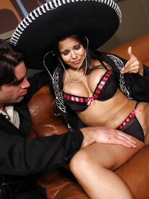 Beautiful Latina brunette is looking so hot wearing black lingerie and the hat. She is touching her massive tits while fucking with her boyfriend.