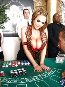 Lovely chick with big boobs is playing cards with her bald partner. She is letting him lick her twat and present her with deep penetration.