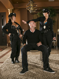 Bald criminal man is enjoying threesome with two brunette police officers. He is torturing their sweet holes with his long aggregate.
