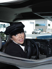 Fucking in her limousine is what this gorgeous driver in black uniform lover so much. She is being punished by the handsome passenger.