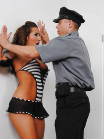 Powerful police man is punishing this sweet slut wearing the short black skirt. He is penetrating her twat and jizzing on her face with pleasure.