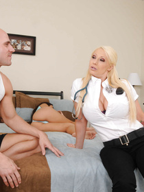Filthy doctor with massive boobs is enjoying hardcore sex with the bald man. She is getting her face and pussy fucked with his cock in his bed.