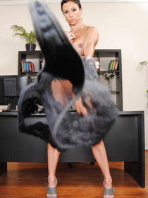 She gets tired of all the immature office shenanigans and decides to fuck a hung dude on a desk and why the hell wouldn't she?
