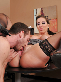 She's sassy and she doesn't seem to be doing all that much. The guy gets really frustrated with her and decides to massacre that tight pussy.