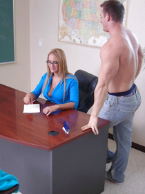 She may not be an actual teacher, but she's good with discipline. The guy quickly strips and starts licking her tits like an obedient slave.