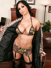 Hot brunette is losing control practicing hardcore ass fucking with the army man. She is getting her oiled ass penetrated on the brown sofa.