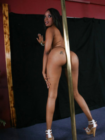 It's so easy to fall in love with this amazing ebony stripper. She is dancing for her interracial client and playing with his massive white cock.