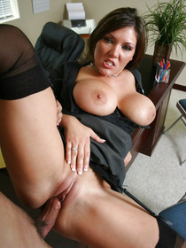 This particular office worker looks amazing: massive tits, black stockings, garter belt, the whole nine yards. Watch her get destroyed!