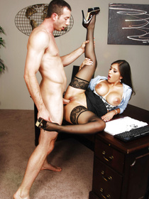 She's wearing stockings and she's getting ruthlessly penetrated by this big-dicked stud. Who would've thought that she's this fucking dirty?