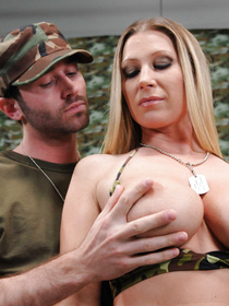 Passionate army man is banging the juicy blonde wearing military uniform. He is drilling her ass hole and feeding her with his tasty cum.