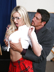 You can guess what follows next: she gets her tits, her throat and her dirty little pussy fucked furiously by her teacher.