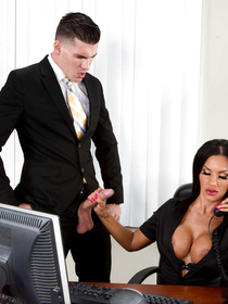 Secretary's work is stressful as it is, but this busty brunette babe just has to fuck her big-dicked boss on top of that.