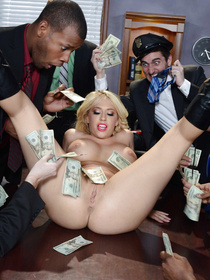 She's one of those strippers/hookers, it turns out. Watch this blonde with massive tits make some extra cash by fucking a guy.