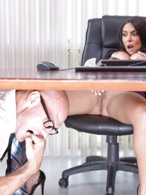 She finds it shocking at first, but then she kinda agrees to let him help her get off. Face-sitting and pussy-pounding ensues.
