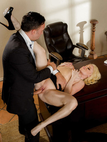 She's pouty and she wants to get her way. Not this time! Her boss knows what she's up to and just decides to fuck her silly.