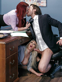 The bleached blonde one is really jealous, 'cause she's blowing him under the table and he makes out with that damn redheaded slut.