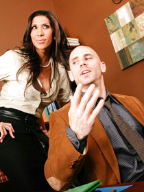 This guy goes on and on about something, probably whining his ass off. This lusty Latina MILF decides to fuck him so he'd stop talking.