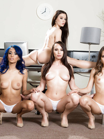 Four beautiful babes, one of them is blue-haired, decide to fuck this hung stud and just make this the greatest experience of his life.