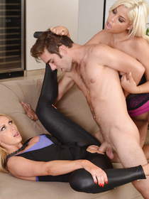 Having passionate threesome with the muscular man is what these busty blondes are fond of. They can be fucking with him for hours.