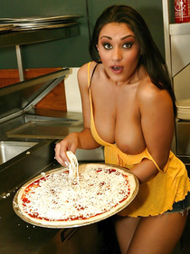 Filthy Latina chicks are kissing passionately on camera and eating pizza. They are also getting nice ass drilled in hardcore way.