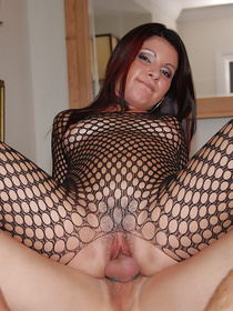 Lustful madam having big tits and wearing high heels with black fishnet is getting penetrated deep. She is swallowing ever drop of sperm.