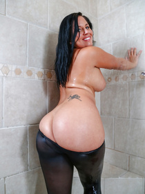 Lovely madam wearing sexy pantyhose is enjoying passionate fuck with her partner in the shower. She is getting her wet holes drilled in hardcore manner.