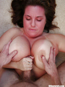 Tanned BBW with big tits enjoys tits fucking, incredible facesitting and doggy style pounding with two horny guys in close up.