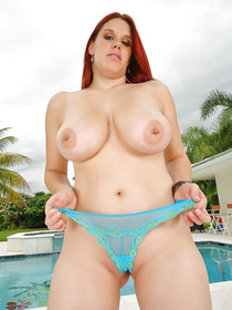 Awesome ginger madam having big tits and big ass is enjoying sensational fuck session. She is fucking like a real porn star on camera.