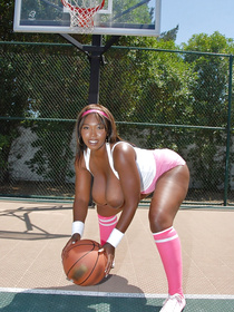 Wonderful chocolate sport babes are enjoying dirty fun outdoor. They are playing basketball before flashing big tits and getting shaved twats drilled.