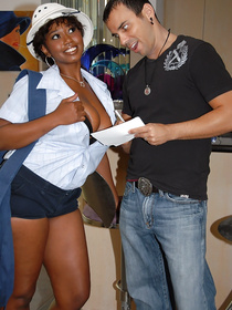 Ebony lady wearing uniform is demonstrating her cool ass and big tits on camera. Her partner is making her happy fucking her deep.