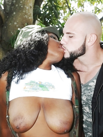 Wild outdoor interracial closeness is what you are going to see watching this clip. Sexy chocolate madam is showing everything she's got.