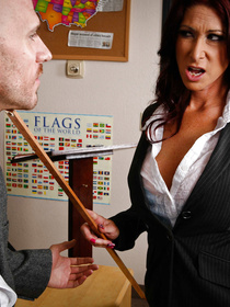 They argue for a bit and she somehow gets her ass spanked with a ruler, she loves it and lets the guy drill her on the desk. Win-win.
