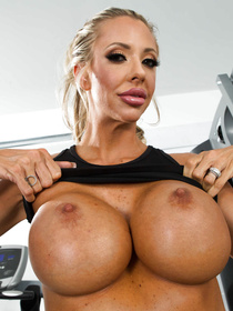 Welcome to the gym where this busty whore is fucking with her strong coach. She is taking off her white shorts and being punished really hard.