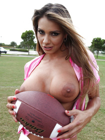 Crazy kinky sports competition ends with a tie, probably. The lusty Latina team captain decides to give him a consolation prize.