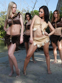 This amazonian tribe seems to have some strict rules, enjoy watching these two hot babes fight and 69-ing on the sand.