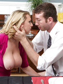 You'll hardly forget this slutty MILF with big boobs and blonde hair. Her strong partner is doing his best to satisfy this cock-hungry lady.