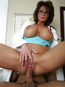 Sexy MILF is looking so hot wearing the doctor's uniform. She is enjoying wild sex with the young patient and enjoying massive cumshot.