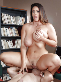 Busty brunette wants to have a little bit of fun in the library, she obviously doesn't care about studying or being quiet.