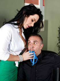 Green skirt naughty office worker sticks her panties up her pussy and up this dude's mouth and he gets really horny, fucks her brutally in the end.