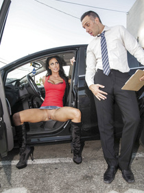 Beautiful brunette in a denim skirt can barely hold it any longer: a businessman gave her a free ride, she's gonna fuck him in return.