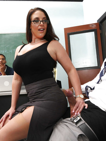 Hot brunette is taking off her clothes and enjoying fuck session with the strong man. She is playing with his boner in the classroom.