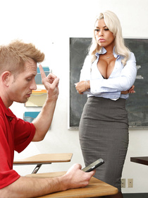 Hot blonde wearing the white blouse and the sexy skirt is a very bad teacher. She is presenting her student with great fuck session.