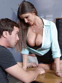 Gorgeous teacher is looking extremely hot wearing stockings and the short skirt. Watch her fucking with her young lover in the classroom wildly.