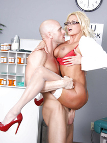 White stockings blonde bombshell wants to fuck a guy with the biggest cock. She does so by spreading her legs and letting him tit-fuck her.