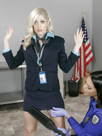 It's an amazing strip-search scene and a completely realistic airport experience. These two officers decide to abuse their power and fuck this cutie.