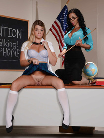 This blonde schoolgirl got busy masturbating in class, so her teacher punished her accordingly: with brutal pussy fingering and licking.