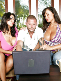 Fantastic fucking scene featuring a guy who loves his laptop almost as much as he loves fucking MILF pussy left and right; a perfect FFM.