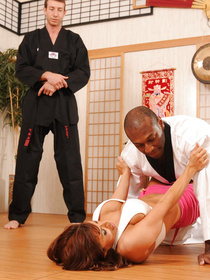 This martial arts hottie just made short work of her sensei, ended up on top of him and decided to let him show off his athletic prowess in sex.